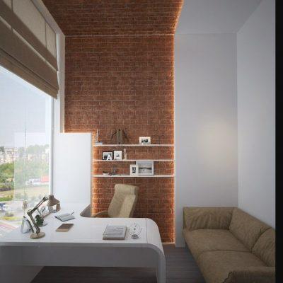Лофт кабинет с окном на фото