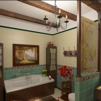 Классика стиля кантри ванной комнаты