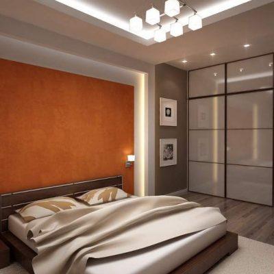 Люстра в спальне в стиле хай тек