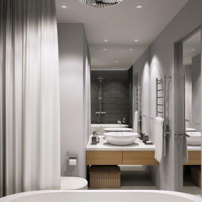 серые тона ванной