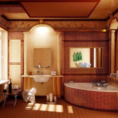 Ванная комната с деревом
