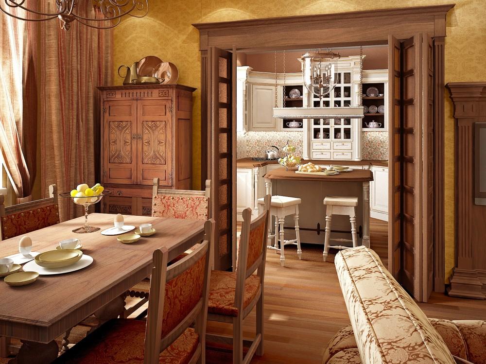 Интерьер кухни гостиной в английском стиле фото