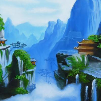 Горы на изображении картины