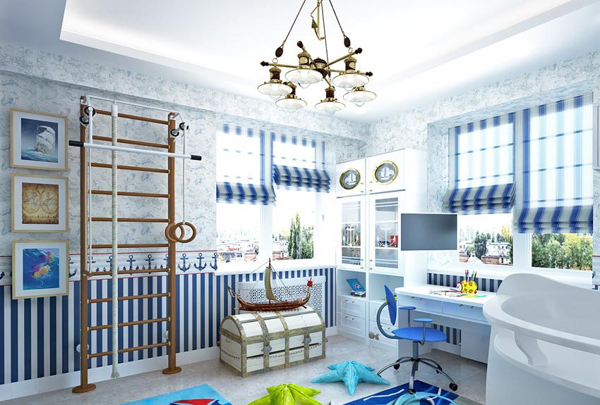 59пример оформления детской комнаты в морском стиле на фото