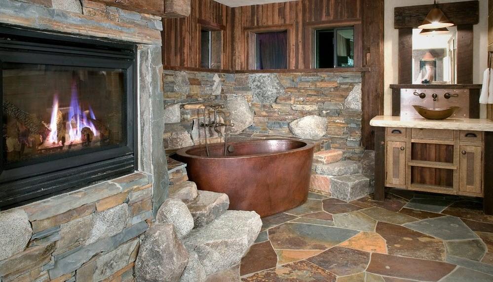 Ванна комната в деревенском стиле на фото