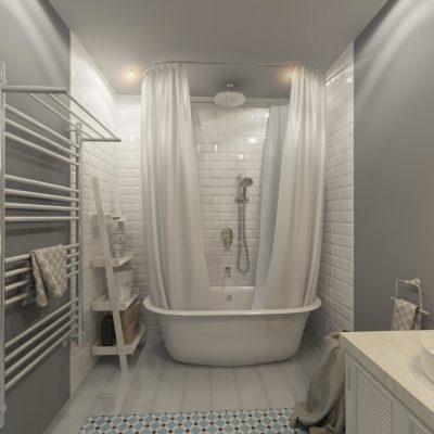 Ванная с белыми шторами