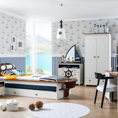 Пример спальни для мальчика с морской тематикой