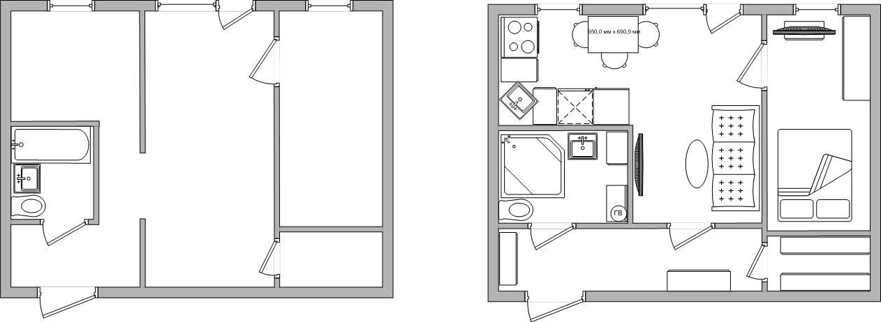 переделка двух комнат