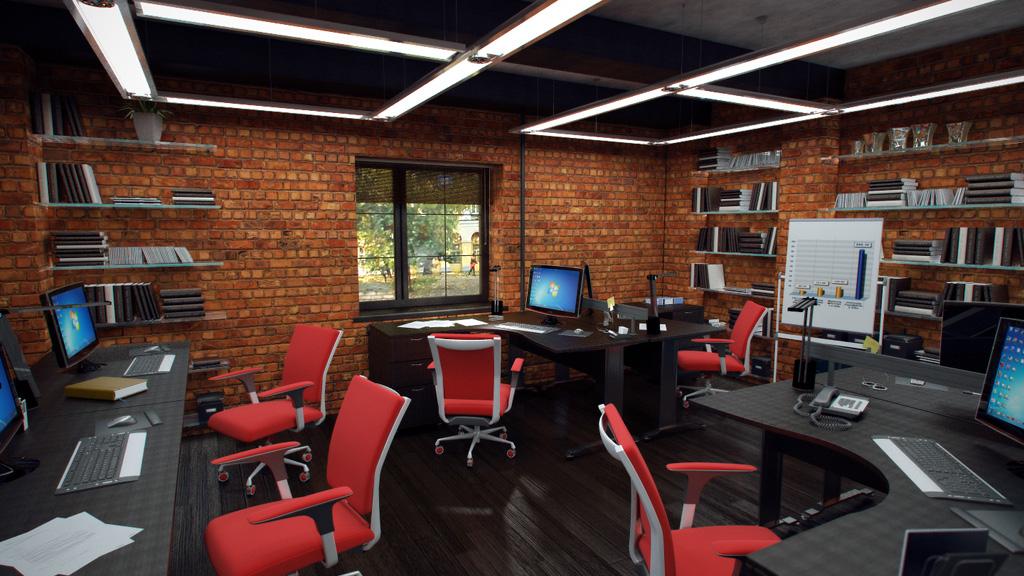 Красная мебель в офисе