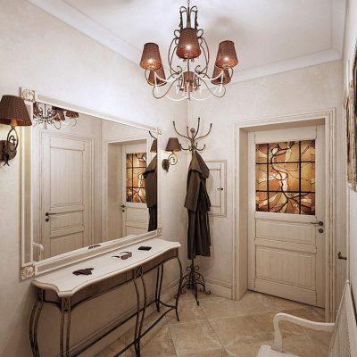 Мебель прованс стиля в узкой прихожей