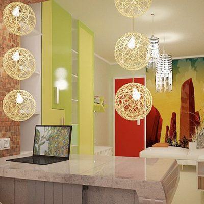 Яркий вид кабинета лофт стиля