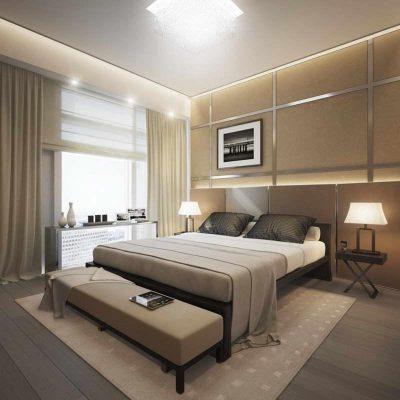 Бежевый интерьер спальни