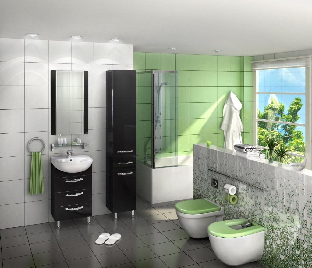 Зеленый интерьер ванной