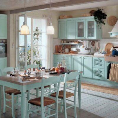 Шебби шик цвета кухни пример мятный