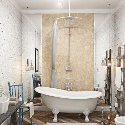 Предметы скандинавского стиля в ванной комнате на фото