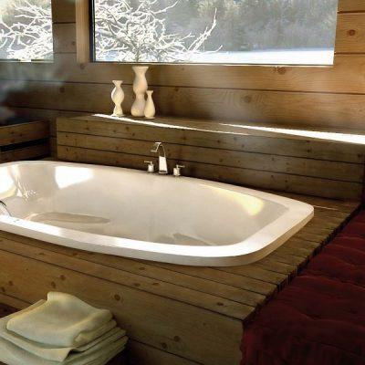 Деревянная раковина в ванной