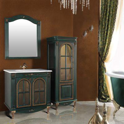 """Комплект мебели для ванной в классическом стиле. """"Венеция аквамарин"""". Атолл."""