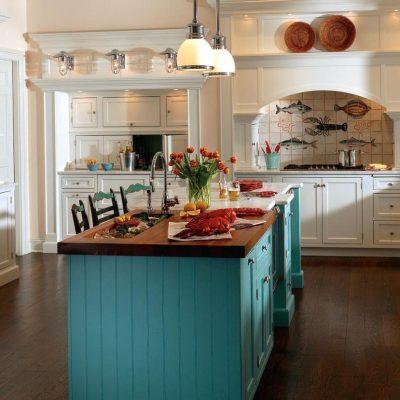 Бирюзовый акцент на кухне