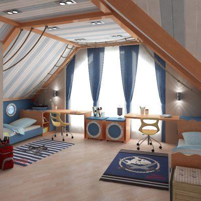 Спальня в чердаке