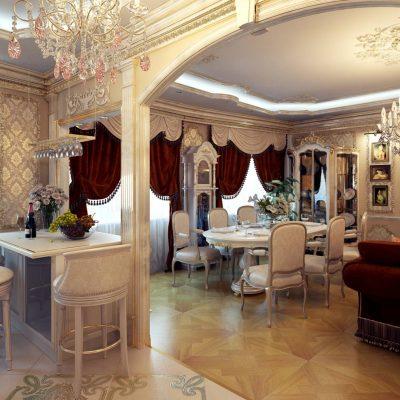Бороко стиль гостиной и кухни