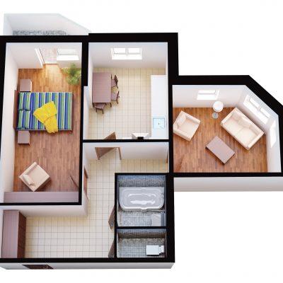 Угловая комната в плане
