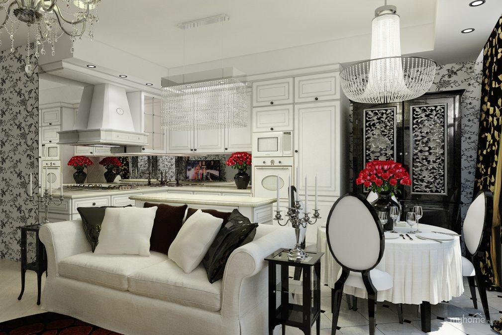 Белая кухня арт деко