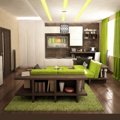 Свежие тона зеленого цвета в гостиной