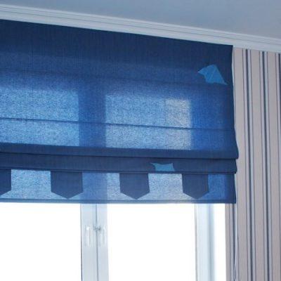 Насыщенно синий цвет римских штор