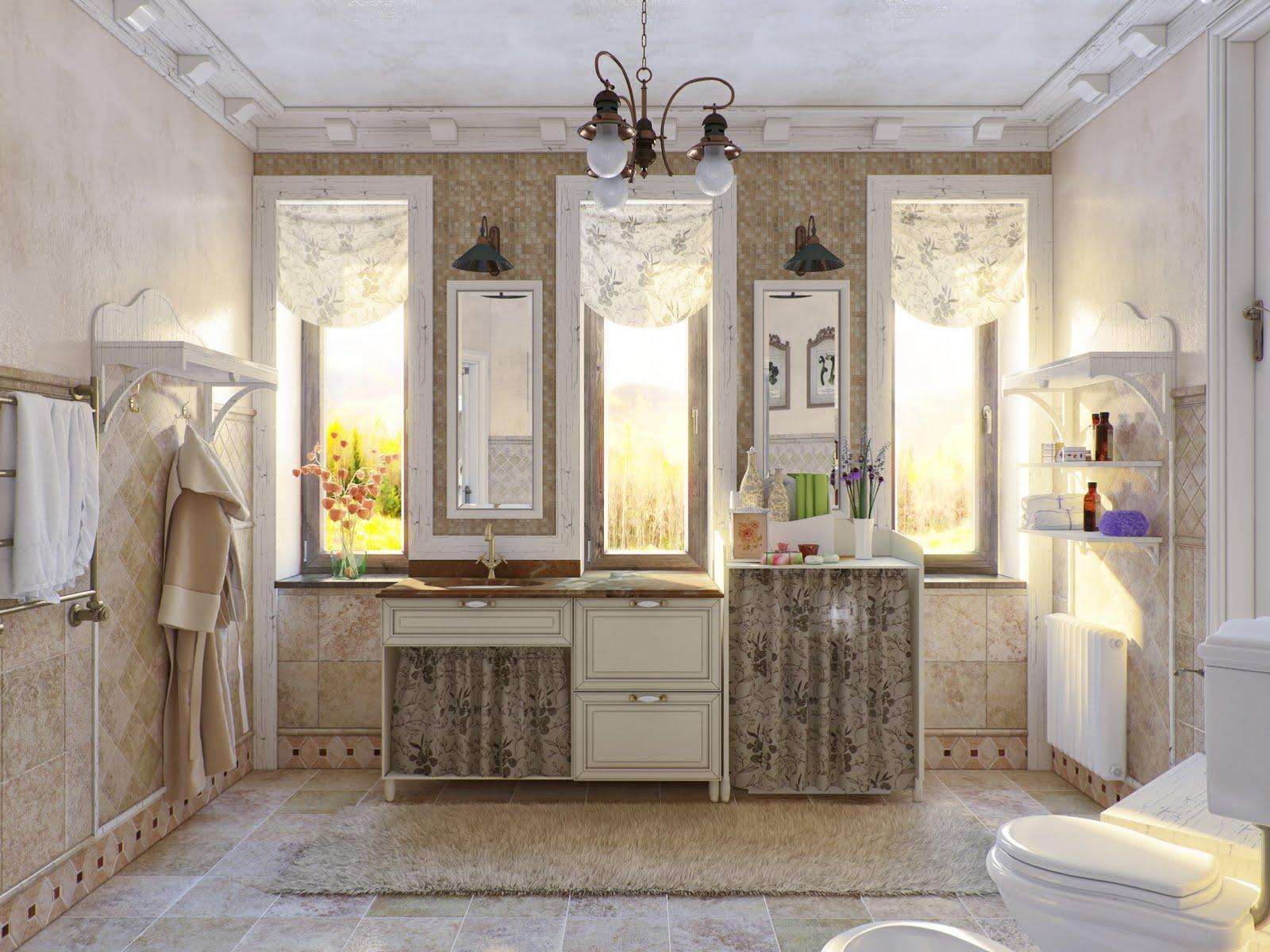 Цветочный принт в ванной в стиле прованс