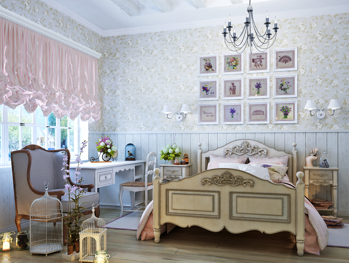 Для оформления детской комнаты в стиле порванс можно использовать искусственно состаренную мебель