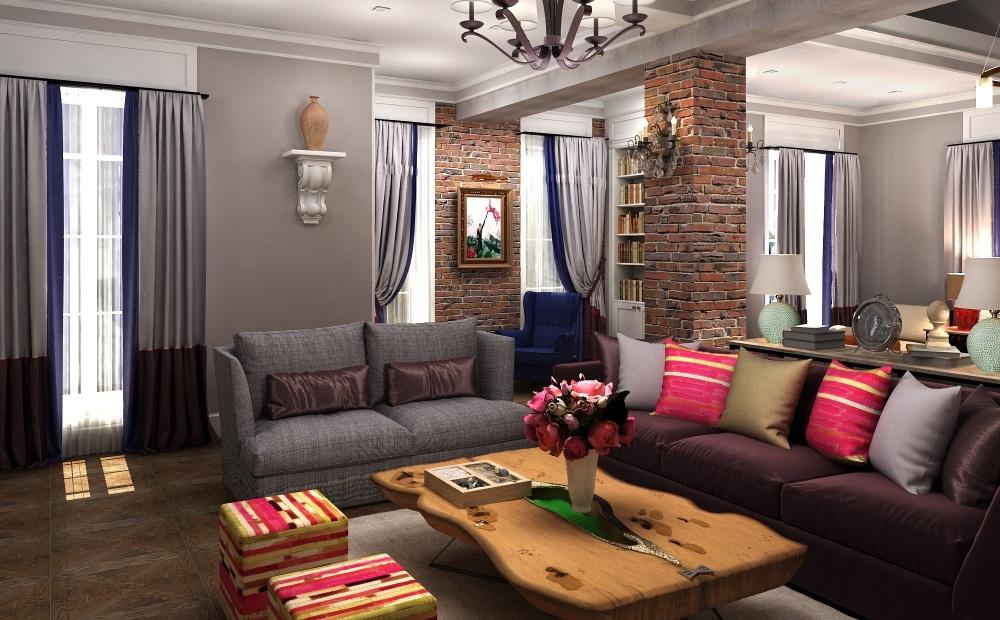 Не обязательно оформлять кирпичом все стены гостиной, можно сделать лишь акценты