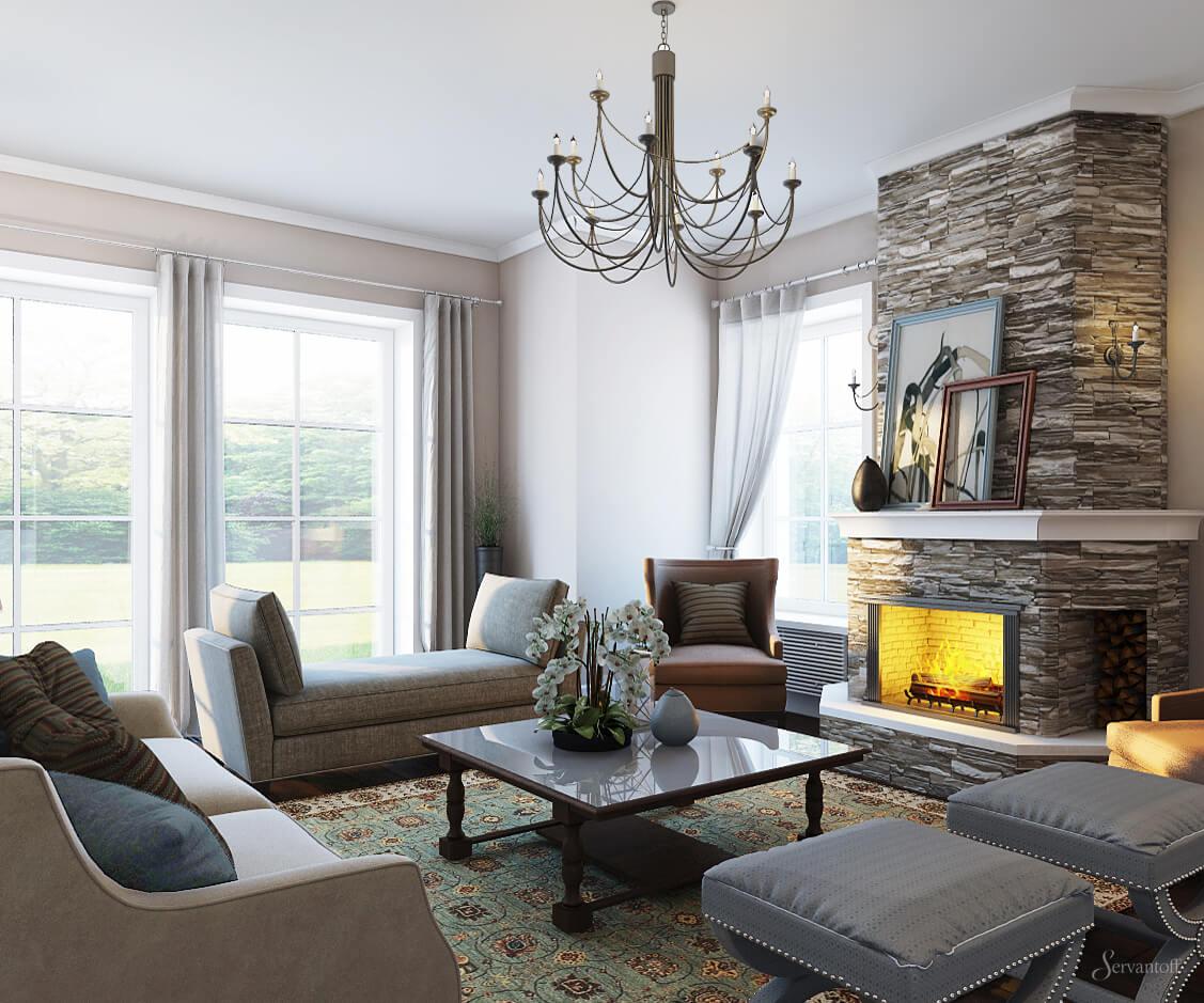 Гостиная в американском стиле может стать отличным вариантом для тех, кто не хочет насыщать свою квартиру роскошью