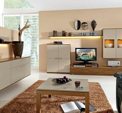 гостиная в стиле модерн со светлой мебелью