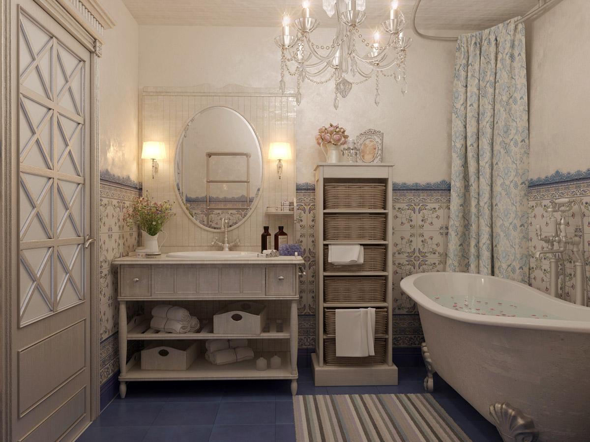 Комод с плетеными ящиками в ванной в стиле прованс