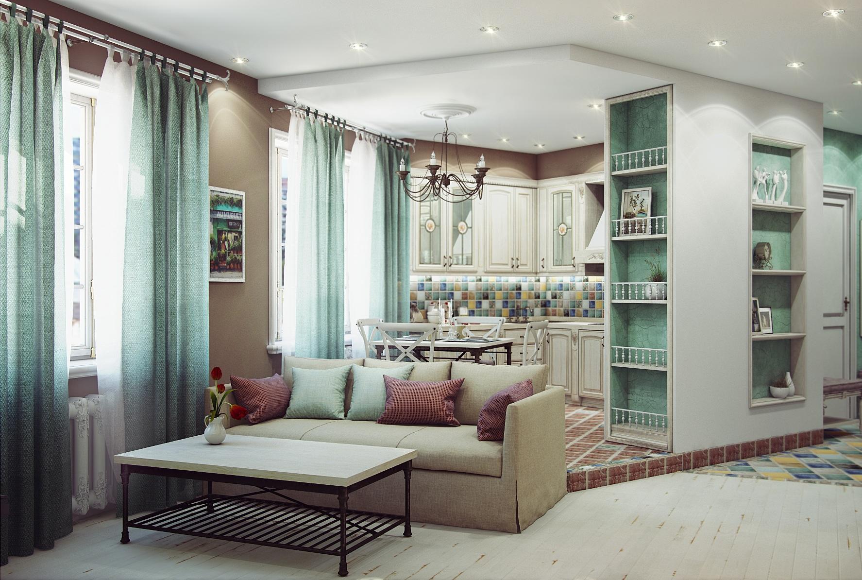 Кухня-гостиная дизайн прованс
