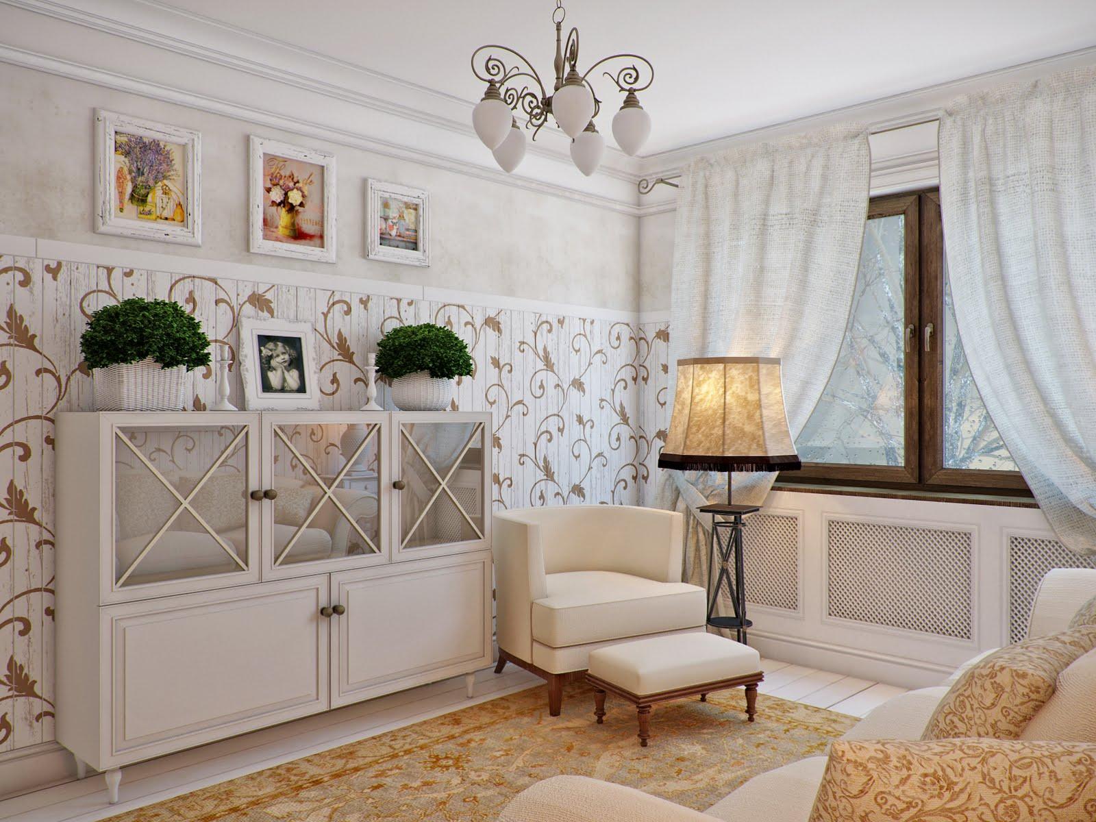 Гостиная в стиле прованс выглядит нежно и романтично