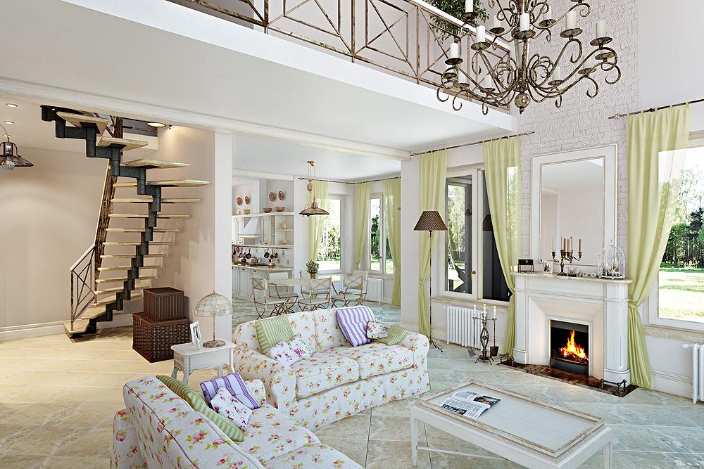 Прованский стиль идеально подойдет загородному дому