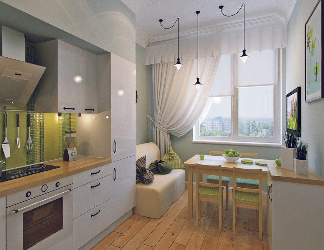Светлые цвета способны визуально расширять простанство, поэтому для небольшой кухни отличным решением станут белые или нюдовые шторы