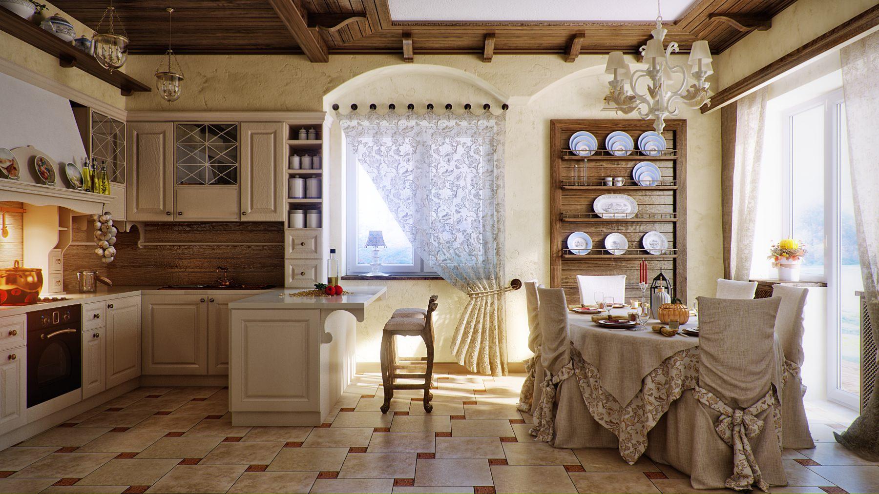 Оформляя кухню во французском стиле прованс, стоит отдать предпочтение светлым и легким шторам