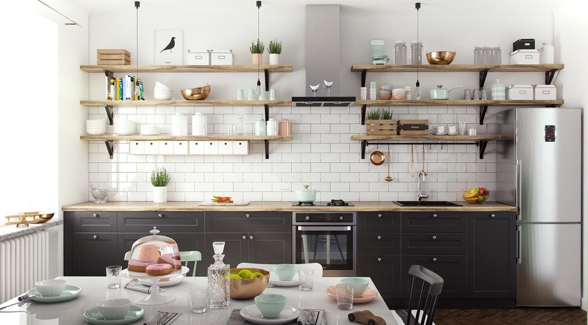 Белоснежный кухонный фартук с имитацией под кирпич