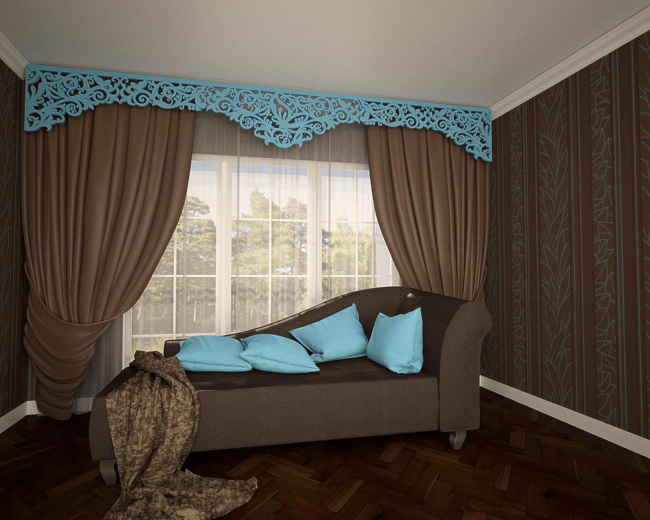 Сочетание ламбрекенов с текстилем штор