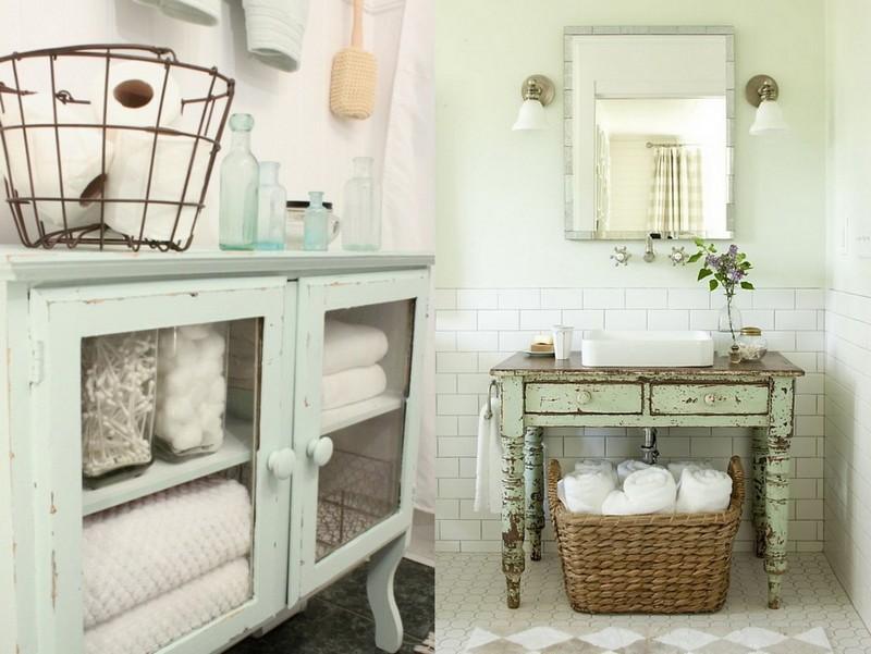 Состаренная мебель в ванной в стиле прованс
