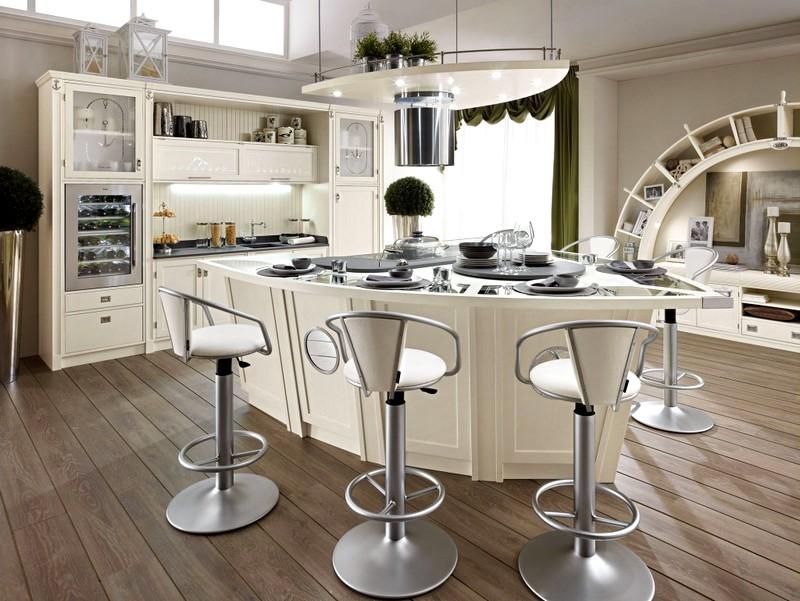 Стильный кухонный интерьер в белых тонах