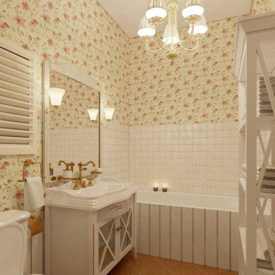 Цветочные обои и светлая мебель в ванной в стиле прованс