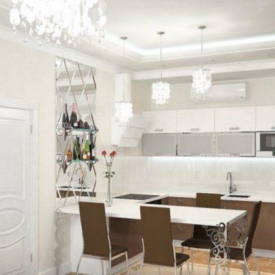 Кухня с вытяжкой неоклассика стиля светлая на фото примере интерьера