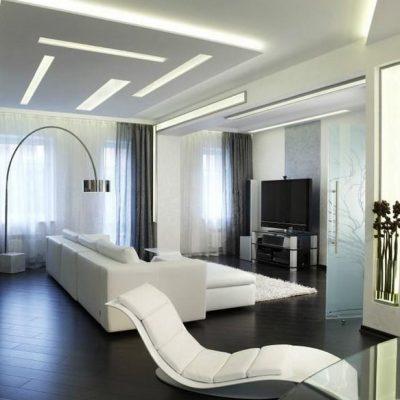 черная гостиная хай тек в интерьере на фото примере