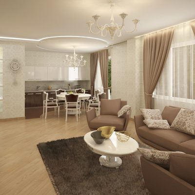 Светлая классика гостиной в современном стиле со шторами