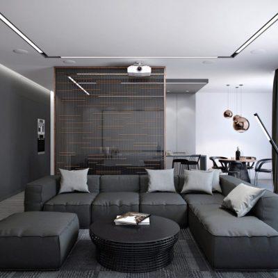 черная гостиная хай тек в интерьере на фото