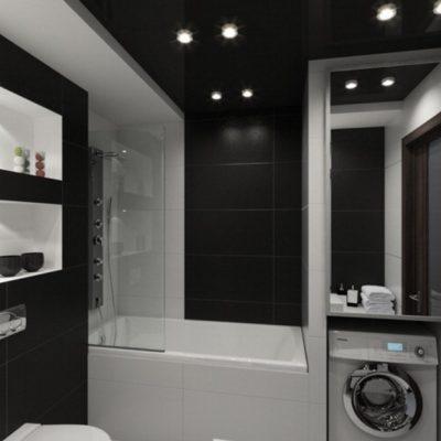 Черная темная ванная
