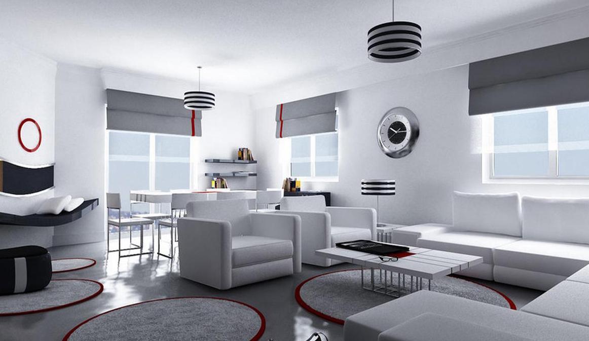 Гостиная в стиле хай тек: высокие технологии для жилой квартиры